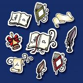 Vector Set of Stickers with School Supplies