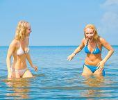 In Bikini In Water Girls