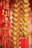 chinese new year decorations.fake gold ingot best wishes for wealthy in the coming new year