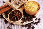 stock photo of spooning  - Organic soap with coffee beans - JPG