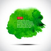Vector abstract watercolor background. Green design element on w
