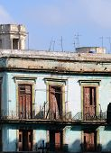 Old, broken-down balconies, in Old Havana, Cuba