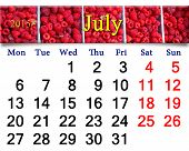 Calendar For July Of 2015 Year With Redraspberry
