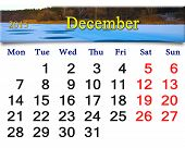 Calendar For December Of 2015 With Frozen River