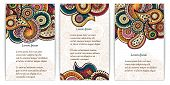 Set of  doodle paisley posters for your business