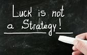 Luck Is Not A Strategy handwritten with chalk