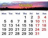 Calendar For October Of 2015 With Pink Sunset