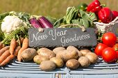 picture of farmers market vegetables  - New year goodness against vegetables at farmers market - JPG