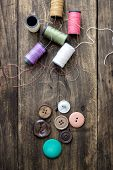 Sewing Kit. Scissors And  Bobbins With Thread