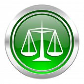 justice icon, green button, law sign