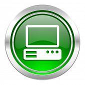 computer icon, green button, pc sign