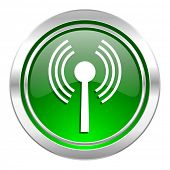 wifi icon, green button, wireless network sign
