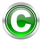 copyright icon, green button