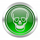 skull icon, green button, death sign