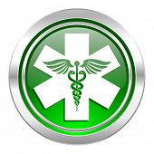 emergency icon, green button, hospital sign