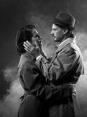 Film Noir: Romantic Couple Embracing