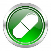 drugs icon, green button, medical sign