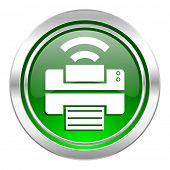 printer icon, green button, wireless print sign