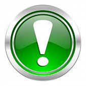 exclamation sign icon, green button, warning sign