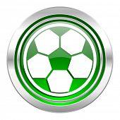soccer icon, green button, football sign
