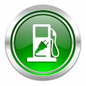fuel icon, green button, hybrid fuel sign