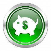 piggy bank icon, green button