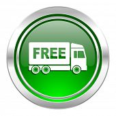 free delivery icon, green button, transport sign