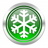 snow icon, green button, air conditioning sign