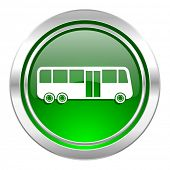 bus icon, green button, public transport sign
