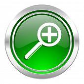 lens icon, green button
