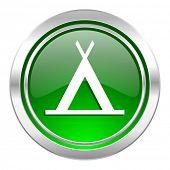 camp icon, green button