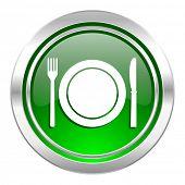 eat icon, green button, restaurant symbol