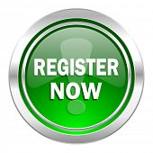 register now icon, green button