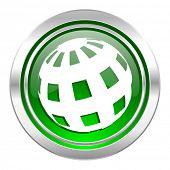 earth icon, green button