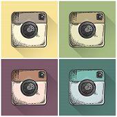 Drawn Retro Photo Icons.