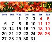 Calendar For The July Of 2015 On The Background Of Red Lilies
