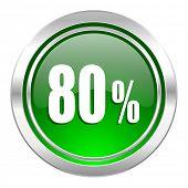 80 percent icon, green button, sale sign