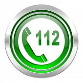 emergency call icon, green button, 112 call sign