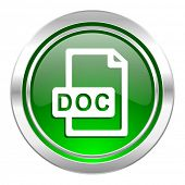 doc file icon, green button