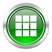thumbnails grid icon, green button, gallery sign