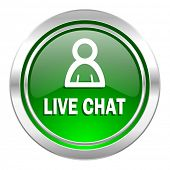 live chat icon, green button