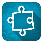 puzzle flat icon, christmas button