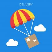 Delivery Concept. Vector Illustration Of A Box And Parachute In Flat Design