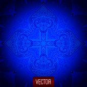 Vector abstract background. Blue backdrop, oriental pattern, vec