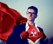 foto of radioactive  - Radioactive Strong Superhero Success Professional Empowerment Stock Concept - JPG