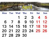 Calendar For April Of 2015 Year With Image Of Flood