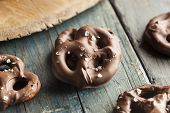 picture of pretzels  - Homemade Chocolate Covered Pretzels with Sea Salt - JPG