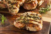 foto of pork chop  - Large Grilled Pork Chop with Basil Lemon Seasonings - JPG