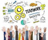 Teamwork Team Together Collaboration Hands Raised Volunteer Concept
