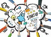Start Up Business Launch Success Team Support Concept
